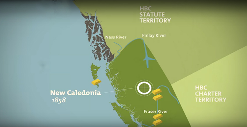 map of the Crown Colonies of Vancouver Island, Haida Gwaii, and New Caledonia