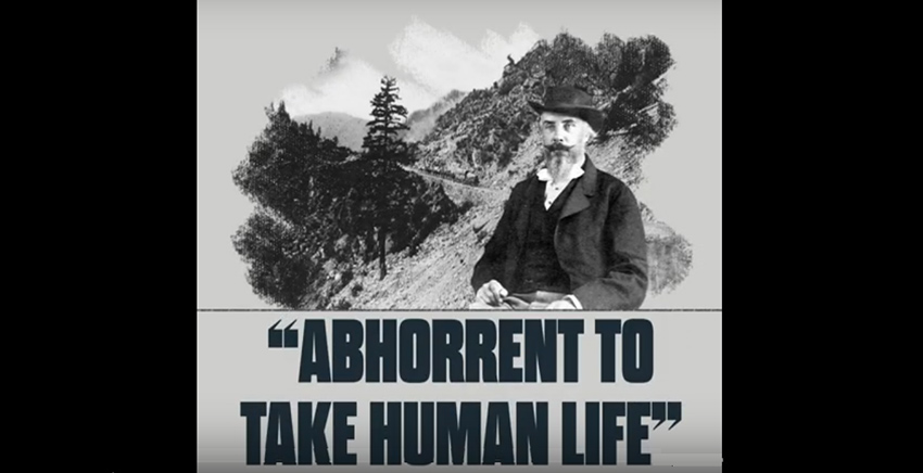 "Portrait of Judge Begbie in front of a mountain pass.  Text ""abhorrent to take human life"""